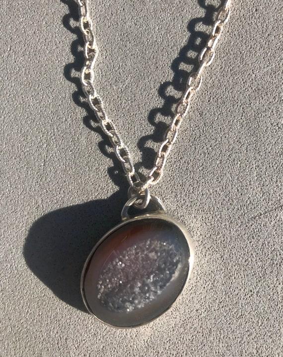 Druzy quartz pendant