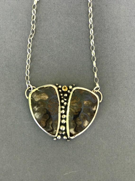 Ammonite and citrine pendant