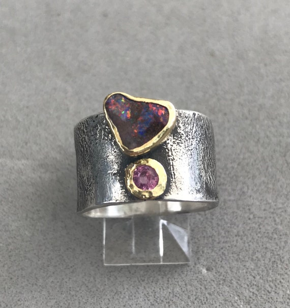 Flashing Opal and sapphire ring