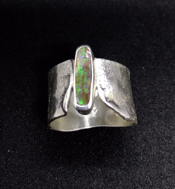 Boulder opal ring on reticulated sterling silver