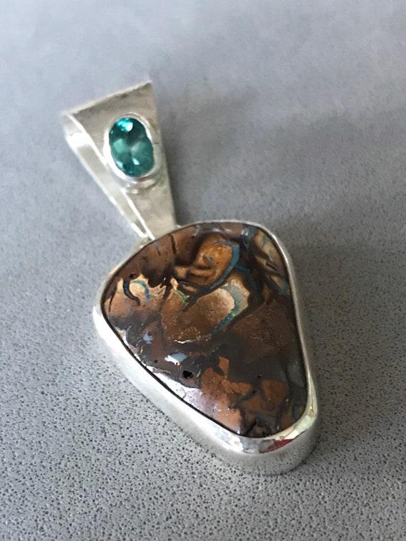 Boulder Opal and Apatite pendant