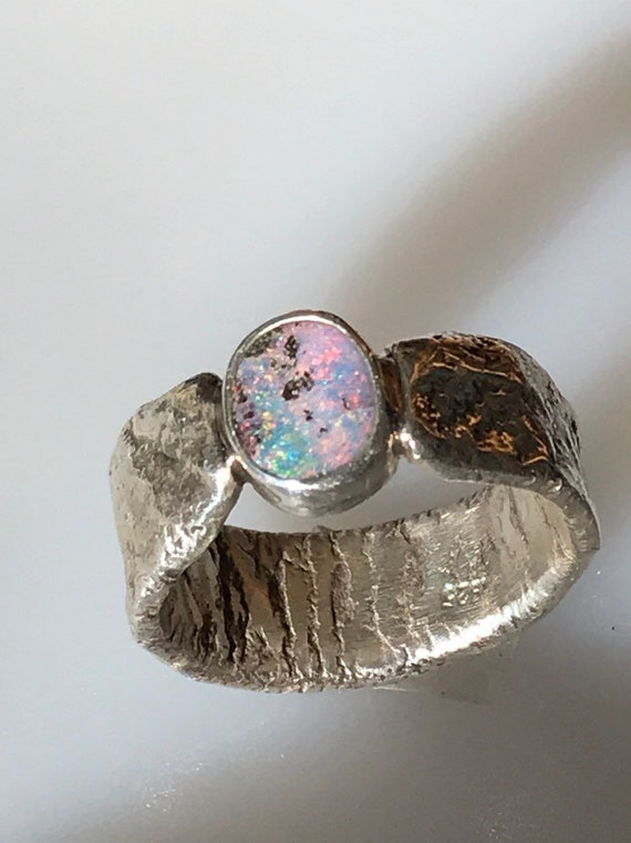 Pink and green boulder opal ring