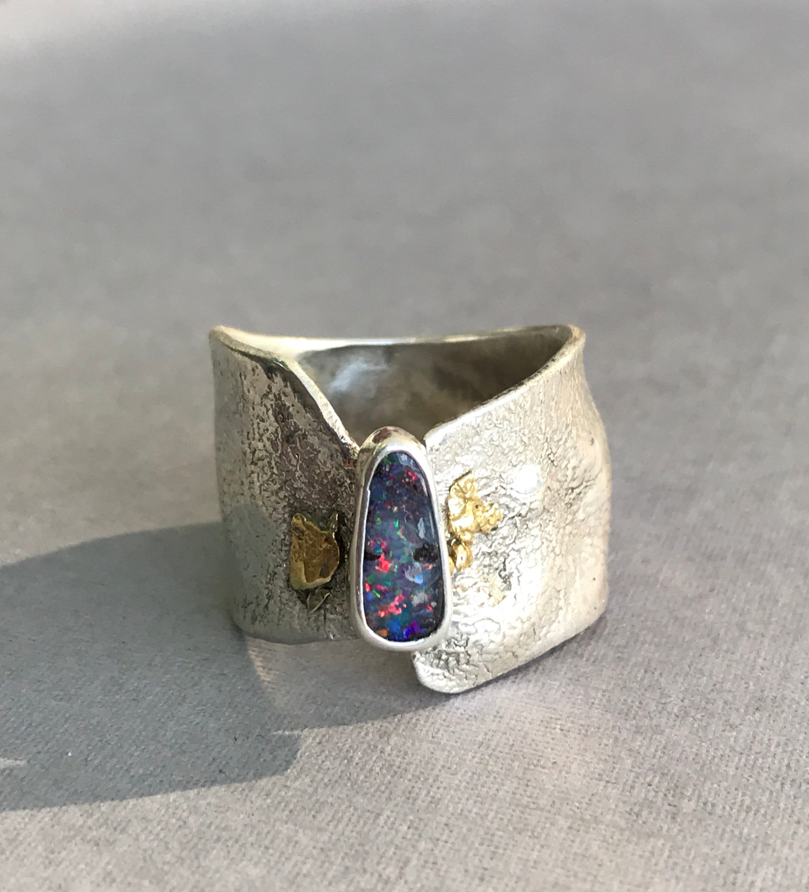 Opal ring reticulated silver 22k gold nuggets