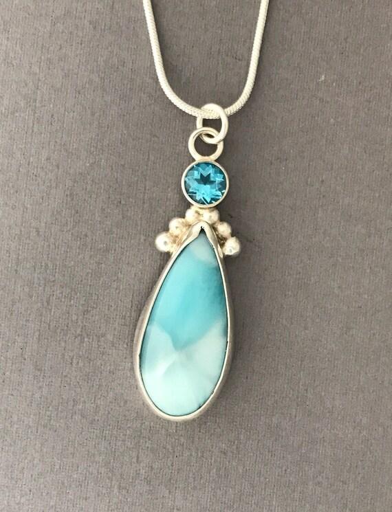 Larimar and sky blue topaz handmade pendant