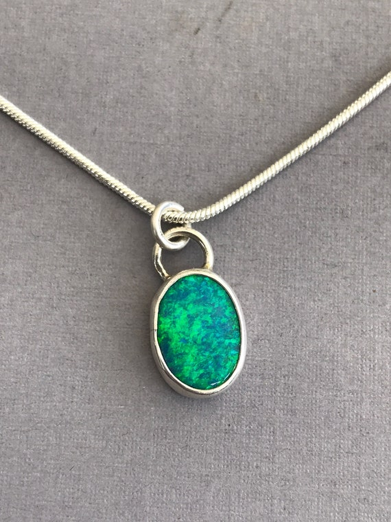 Lightning Ridge opal pendant in sterling silver
