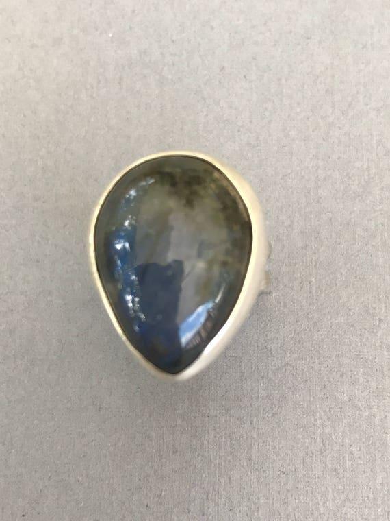 Labradorite split band ring