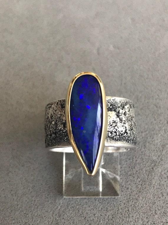 Blue Lightning Ridge doublet opal ring