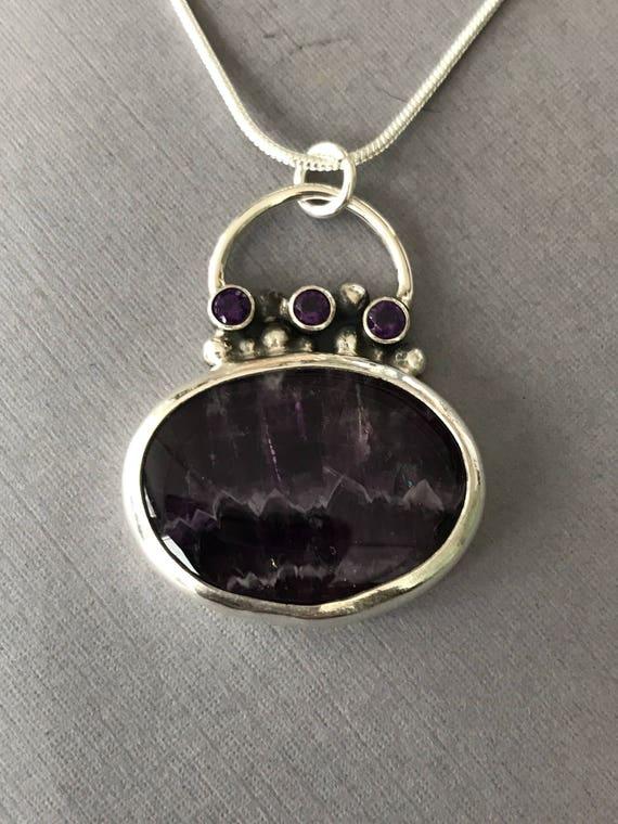 Amethyst, chevron amethyst, silver granulation, pendant , handmade