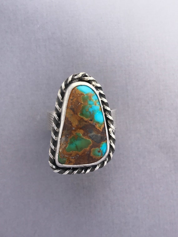 Bright blue and brown Royston turquoise ring