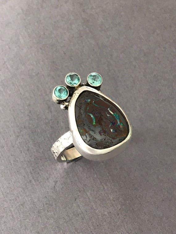 Australian Boulder Opal , Apatite , ring, handmade , hand textured , size 9-1/2