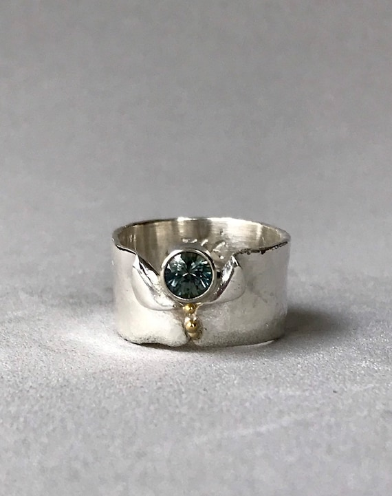 Montana sapphire wide band ring