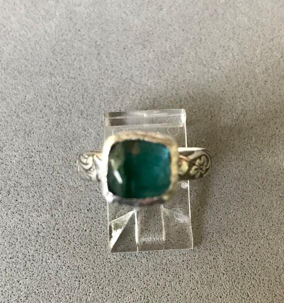 Rose cut blue/green tourmaline ring