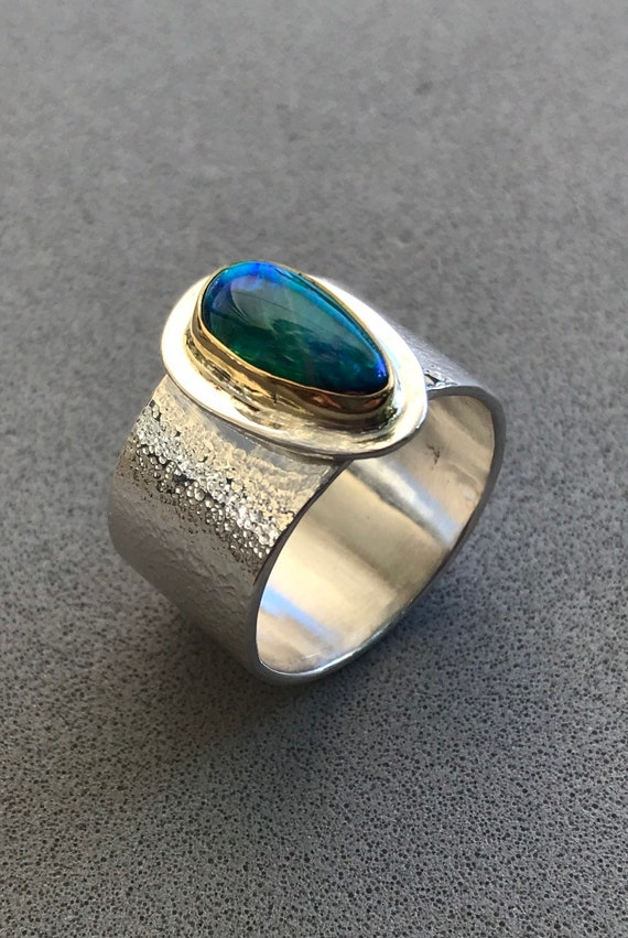 Opal doublet in 18k gold and sterling silver ring