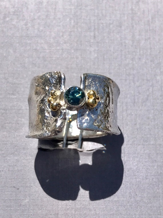 Rock Creek Montana sapphire reticulated silver ring