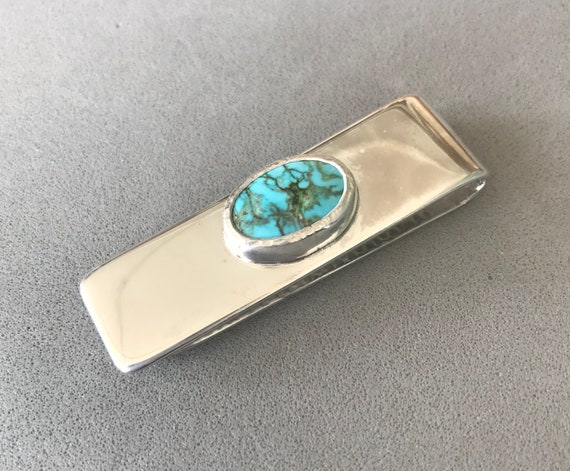 Money clip with Turquoise Mountain turquoise