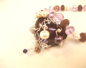 Purple wire wrapped heart pendant necklace