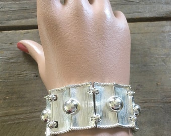 vintage silver-tone and white lucite bracelet signed B.S.K.
