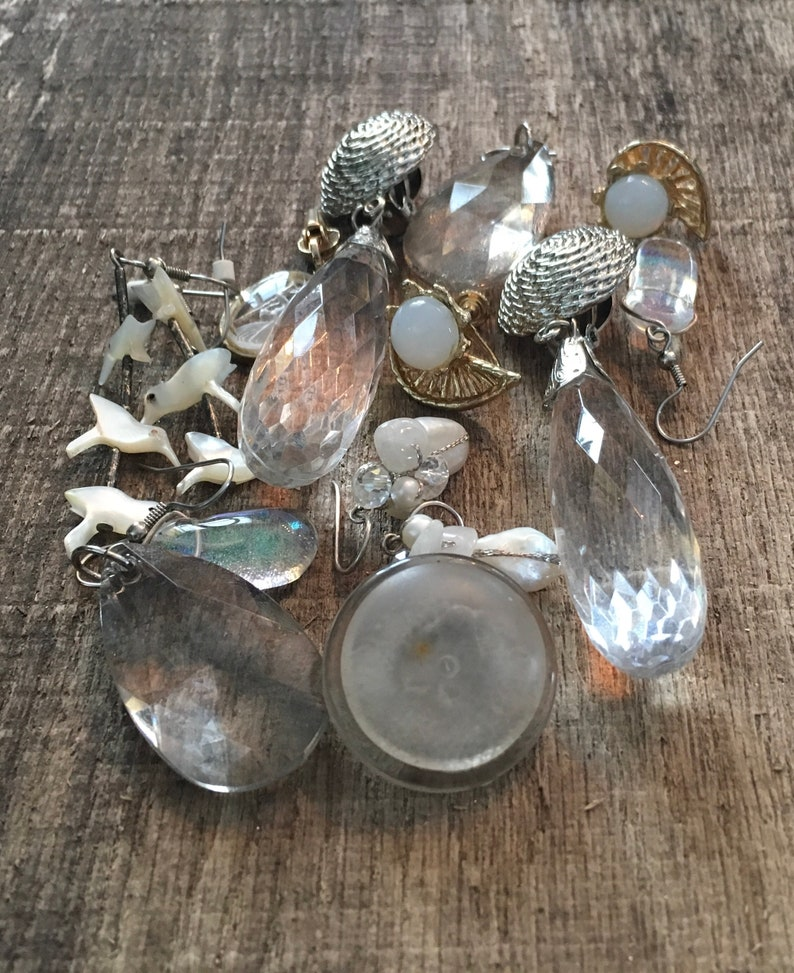 Vintage Lot Faceted Clear Prism Earrings MOP Lot Junk Jewelry Lot