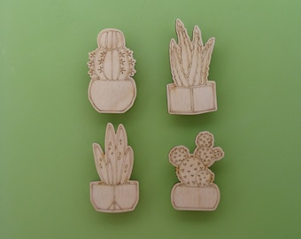 Cactus Magnets Set of 4 four, engraved wood