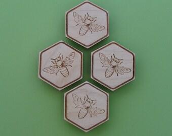 Honey Bee Magnet Set, Wood