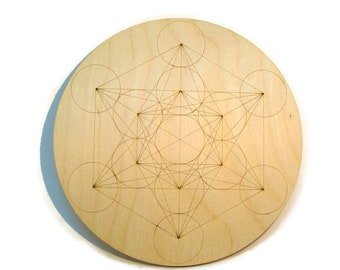 Charging Grid Sacred geometry Metatrons Cube alter tools engraved wood crystal grid plate wooden laser handmade Metatron's laser alter plate