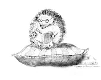 PRINT Hedgie with Books SKETCH