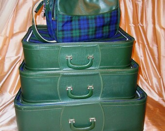SALE Vtg. PLAID Tartain GRASSHOPPER SUITCASE SET 4pc Tote Bag - With Key