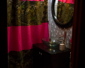 SALE Ready To Ship Mossy Oak And Pink Shower Curtain Matching Towels Bathroom Set