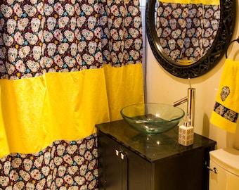 NEW Custom Bathroom Decor Shower Curtain Bath Towels Hand Towel Rockabilly Rocker Rock And Roll Punk Skull Sugar Yellow