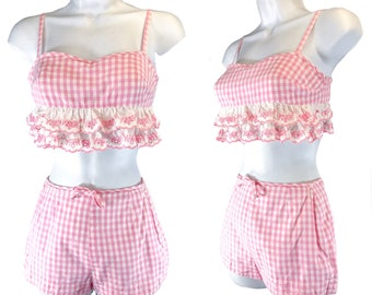 1950s/1960s Pink White Gingham 2 piece Swimsuit