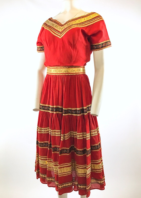 1950s Red Gold Patio Dress - image 4