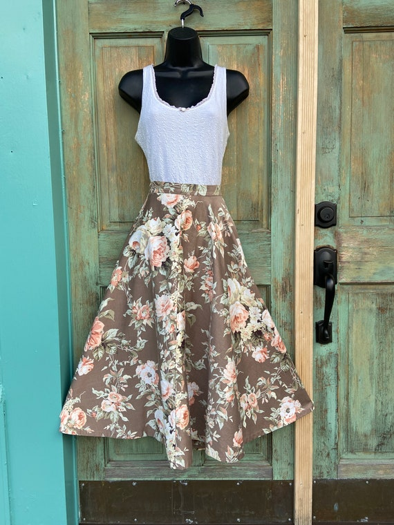 50s Brown, Peach Floral (Almost Circle) Skirt