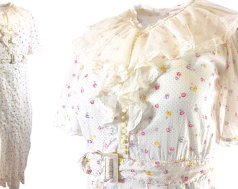 1930s Floral Cotton Day Dress, Handmade