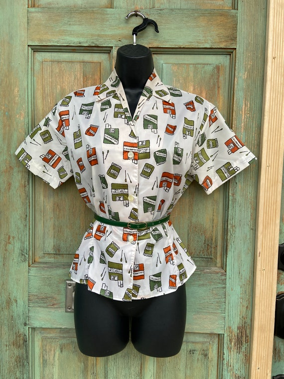 Cigarette Theme Novelty Print Shirt, Donkenny