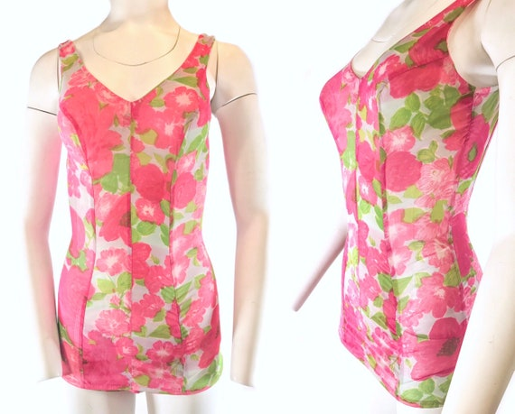 1950s Pink, Rose Green Floral One Piece Swimsuit,