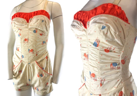 1940s 1-Piece Asian Novelty Play Suit Bathing Suit