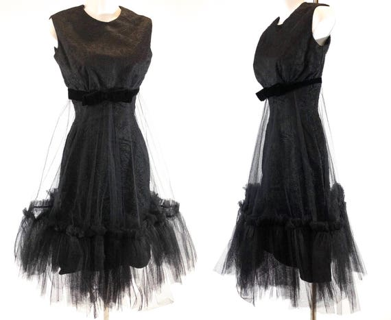 1960s Black Sleeveless Cocktail Dress with Tulle E
