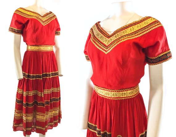 1950s Red Gold Patio Dress - image 1
