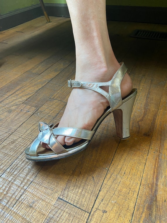1940s Silver Sandals
