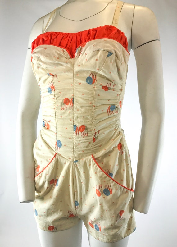 1940s 1-Piece Asian Novelty Play Suit Bathing Sui… - image 2