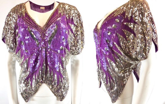 1980s Purple Silver Sequined Butterfly Disco Top