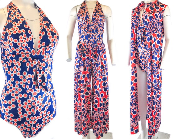 1970s THREE-piece Resort SET One Piece Polyester S