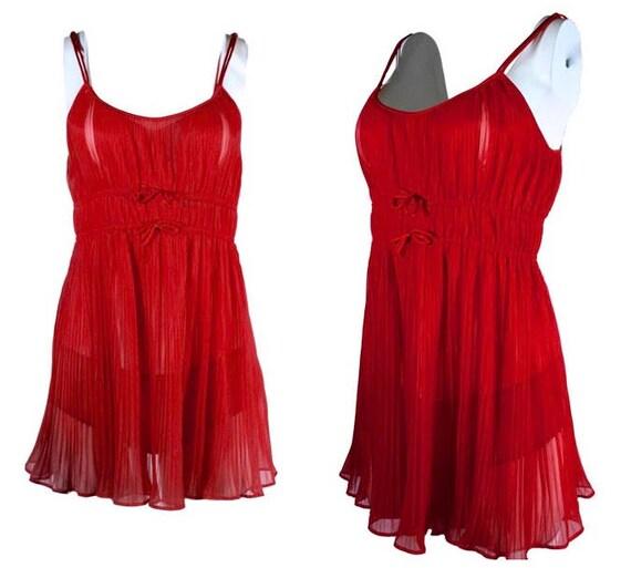 Red Nylon Vanity Fair Babydoll Nightie Set Vanity