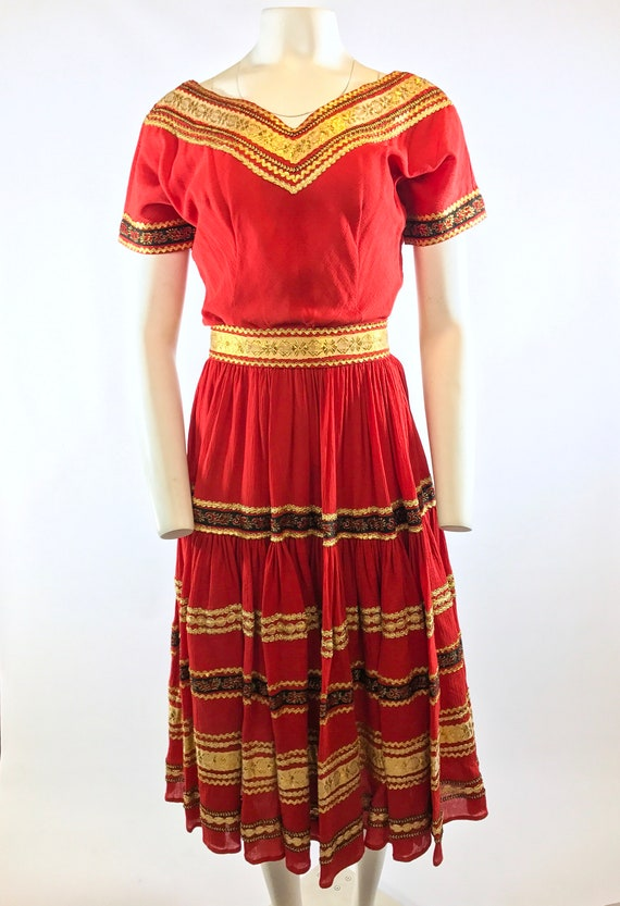 1950s Red Gold Patio Dress - image 3