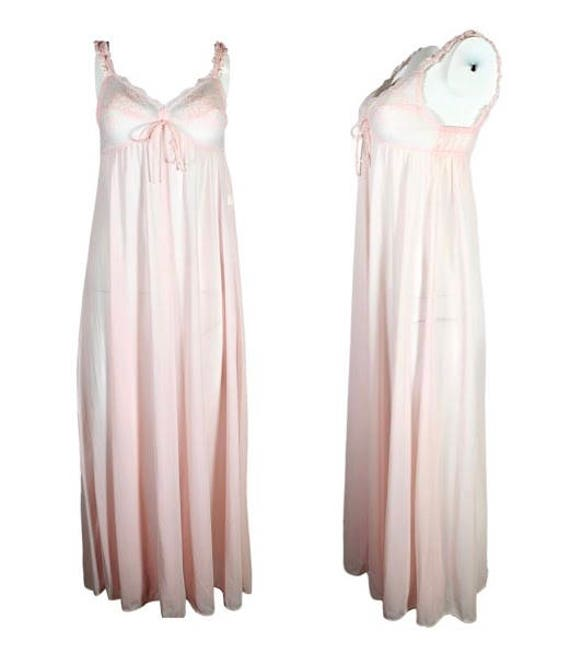 Vintage Pink Long Olga Nightgown Lace Detail