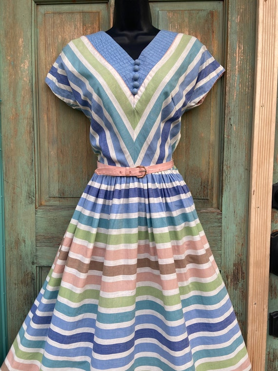1940s Pastel Striped Day Dress