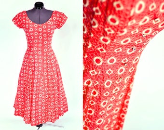 1950s Red Fit & Flare Vintage Party Dress, White Embroidery, Rhinestone Buttons  VLV