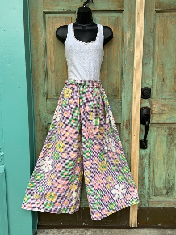 70s Purple Gingham With Pastel Floral Wide Leg Pan