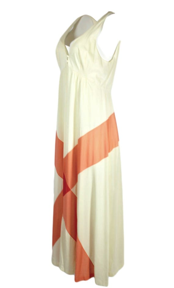1970s Full Length White Nylon Eyelet Trim Sleeveless Night Gown by Formfit Rogers