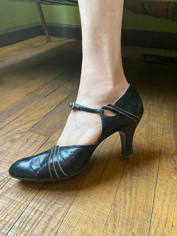 1920s Black Leather Mary Jane Shoes